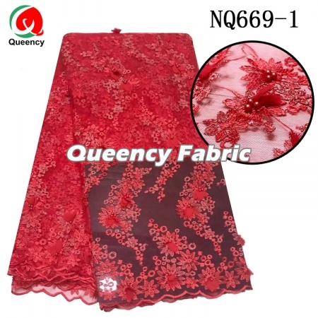 embroidered 3d flower shinning French net lace